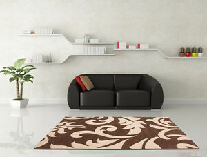 Tapis-moderne-neuf-emballage-d-039-origine-floral-SOLDES-marron-beige-moka-120x170