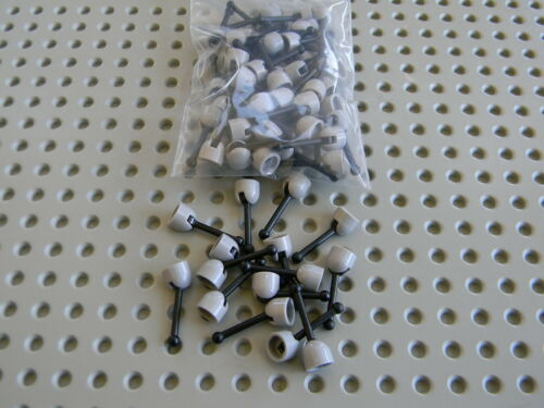 New Condition !!! Lego lot of 50 Light Gray levers with black handles