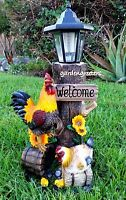 Rooster Hen With Solar Light Statue Solar Rooster Hen Figurine