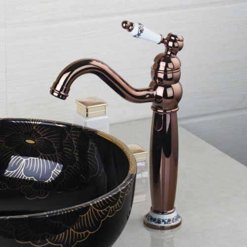Rose Golden Bathroom Sink Mixer Faucet Swivel Spout Basin Vessel Deck MountTap