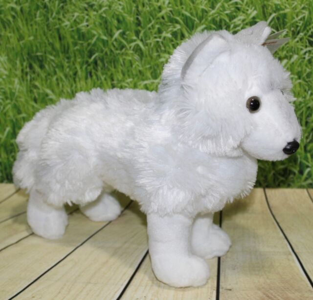 12 Inch Ck Standing White Wolf Plush Stuffed Animal By Wild Republic