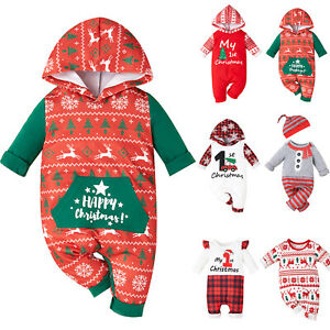 Toddlers Baby Christmas Bodysuits Floral Romper Outfits Jumpsuits Warm Hoodies