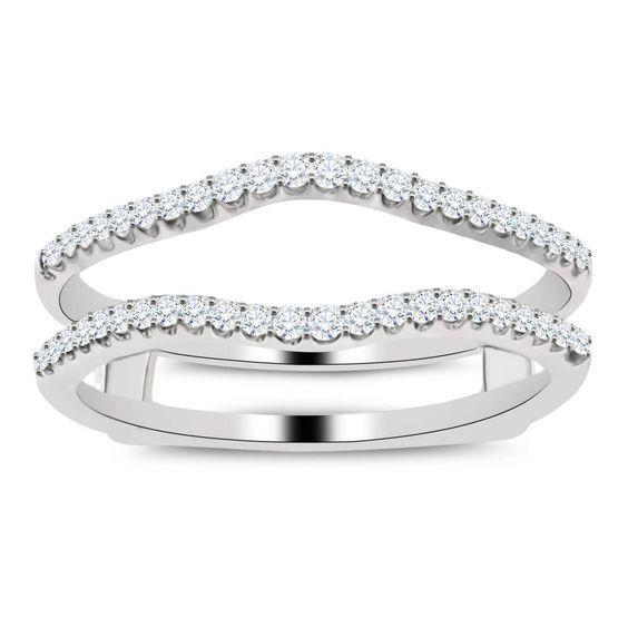 10k White Gold Diamond Las Solitaire Engagement Ring Enhancer Wrap 14 Ct Ebay