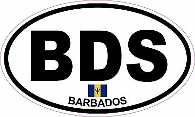 OVAL sticker flag country code bumper decal car laptop barbados barbadian BDS
