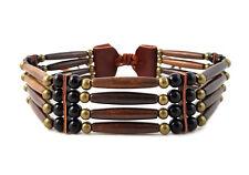 Handmade Brown Traditional 4 Row Buffalo Bone Hairpipe Tribal Choker Necklace