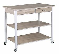 Home Basics NEW Oak Kitchen Island Trolley wit Storage Drawers / Shelves KT44134