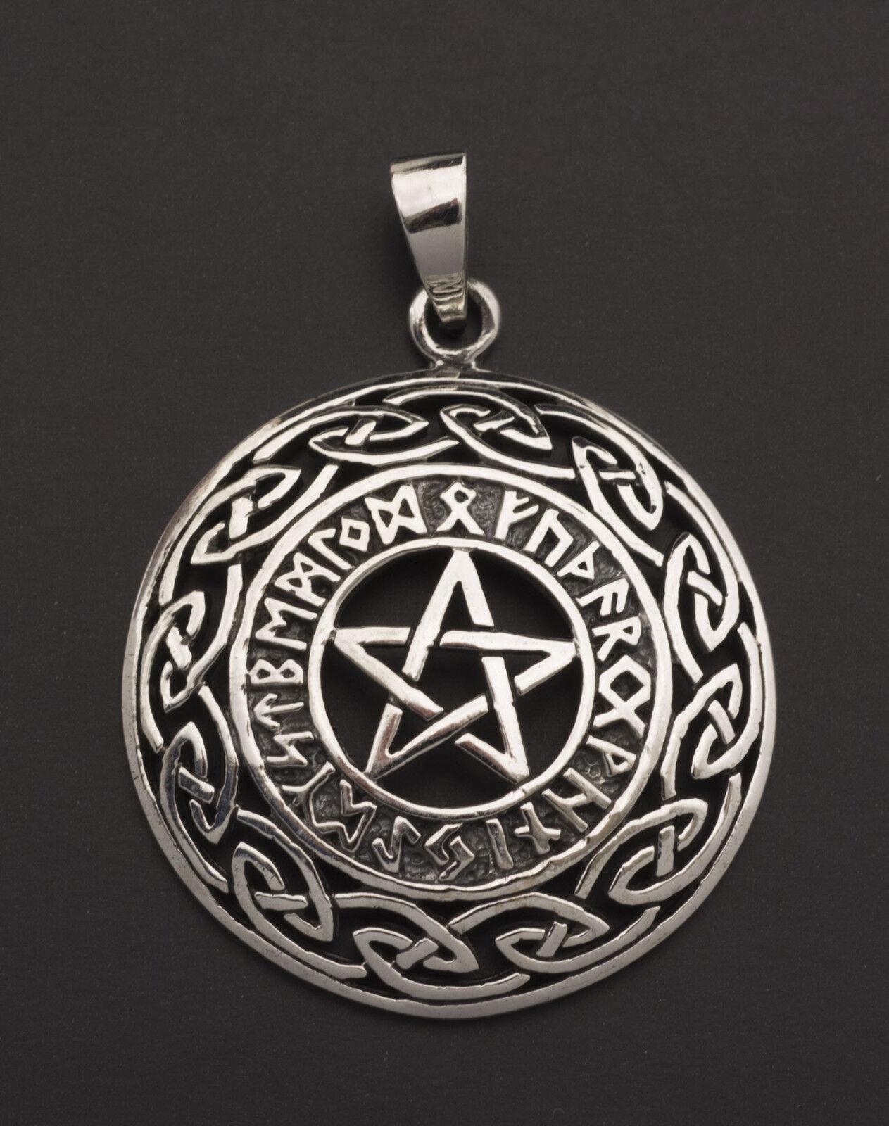 Pendentif tetragramme Rune Viking Pentacle Païen argento 925 7g 25849 25849 25849 K25 a13e13