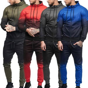 Herren-Farbverlauf-Trainingsanzug-Sweatshirt-amp-Jogging-Hosen-Suit-Sportanzug-GS