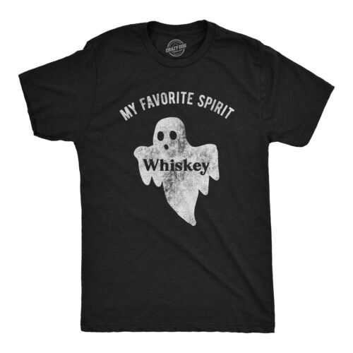 Mens My Favorite Spirit Whiskey Tshirt Funny Halloween Ghost Drinking Party Tee