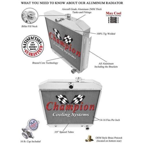 Champion 4 Row Aluminum Radiator MC5057 For 1955-1957 Chevrolet Cars V8 Engines