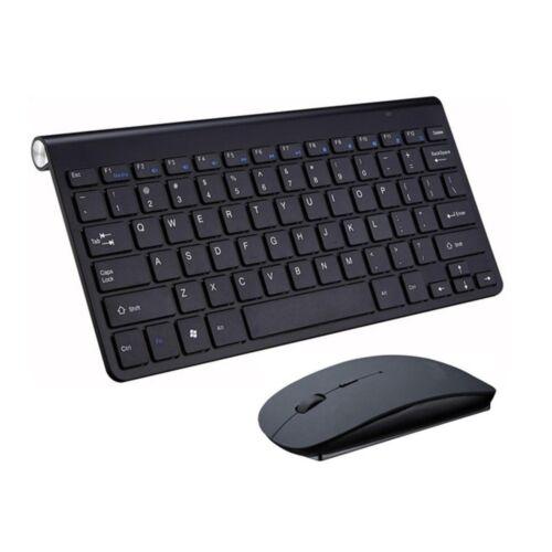 Slim 2.4GHz Wireless Mouse and Cordless Keyboard Kit For Laptop Desktop PC BK UK