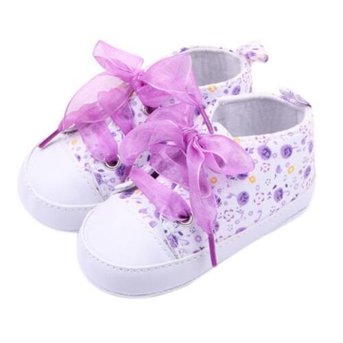 Toddler Girls Floral Crib Shoes Newborn Baby Lace Soft Sole Prewalker Sneakers