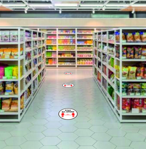 Shop Floor Stickers Social Distancing Warning Sign Stay 1 m Plus Apart 3 x 20cm