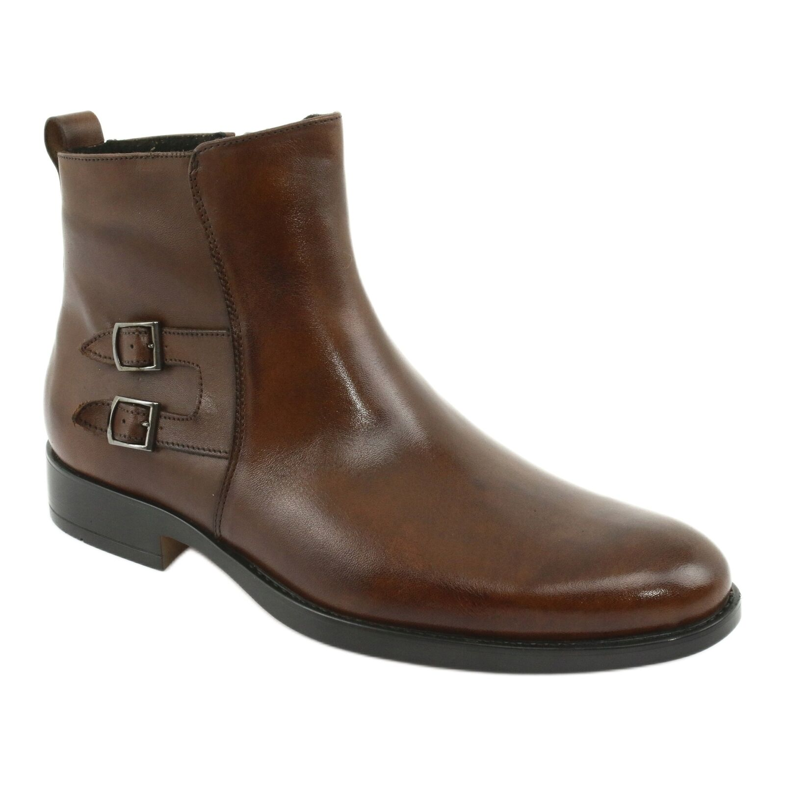Moskała Mosaic leather ankle boots brown