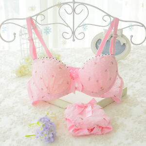 72fc893b6a90d Cute Young Girl Cotton Lace Floral Underwire Push up Bra and Panty ...