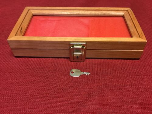 Cherry Wood Display Case  5 x 10 x 2 for Arrowheads Knifes Collectibles /& More