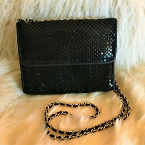 Vintage-Black-Mesh-Whiting-amp-Davis-Handbag-Rockabily-Flapper-Disco-Party-Wedding