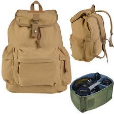 Khaki Camera Case Backpack Shoulder Carry Travel Bag for DSLR Canon Nikon Canvas