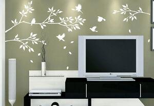 ... Albero Rami Uccellini Decorazione Muro Vinile Adesivo Da
