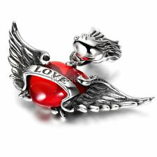 """Silver Stainless Steel """" Love """" Word Angel Wing Heart Resin Pendant Necklace"""