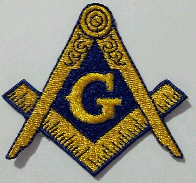 Freemason Masonic Gold and Blue Iron on Patch (Item# P10)