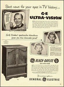 Details about 1953 vintage ad for GE Utra-Vision Black Daylight TV, Bing  Crosby -032712