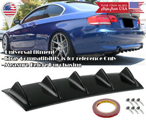"23/"" x 9/"" ABS Black Universal Rear Bumper 4 Fins Curved Diffuser For Toyota Scion"