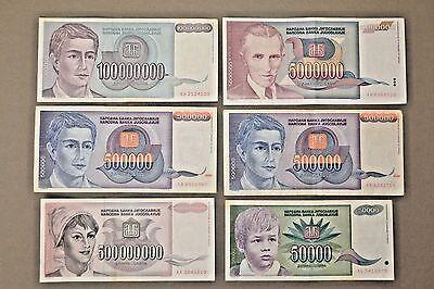 Yugoslavia BUNDLE LOT 100 Notes 50 BILLION DINARA 1993 HYPERINFLATION P136 XF-AU