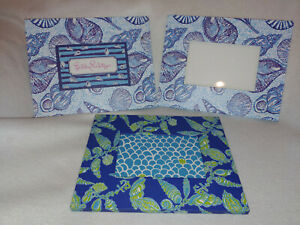 Lilly-Pulitzer-Picture-Frame-Blue-Shells-LOT-SET