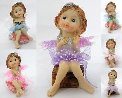 New 2x 11cm Fairy Girl w Flower/& Butterfly Dress Gift  Home Garden Décor