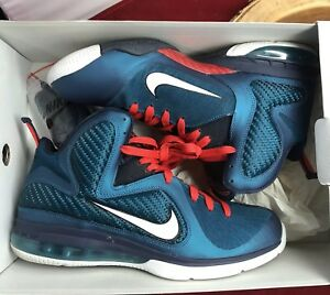 828ed321c NIKE LEBRON IX 9 SWINGMAN GREEN ABYSS WHITE OBSIDIAN BLUE RED 469764 ...