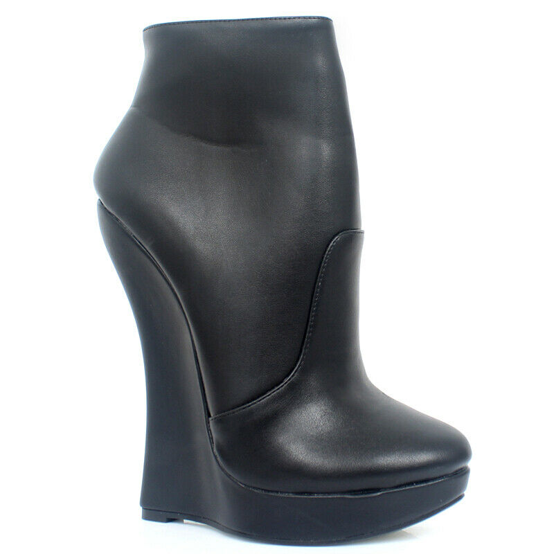 18cm Womens Mens Ankle Boots Round Toe Wedge High Heel Casual Club Evening Party