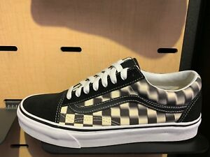 Vans Old Skool Checkerboard Blurred Black White Canvas Size 8-13 New ... 1f211c9d4