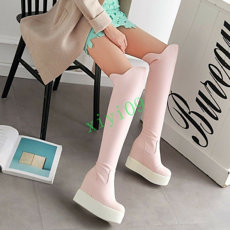 Sweet Womens Pull On Knee High Hidden Wedge Platform Simple Creeper Winter Boots