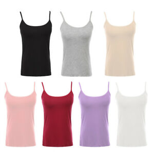 0ee2803a8f2f5 Sexy Women Built-in Bra Padded Active Strap Camisole Yoga Tanks Top ...