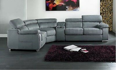 DAKOTA DARK GREY FABRIC CORNER SOFA LEFT HAND WITH DRINKS HOLDER