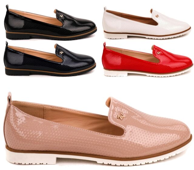 63a798d0 WOMENS LADIES FLAT FAUX PATENT LEATHER SLIP ON LOAFERS LADIES SHOES SIZE 3-8