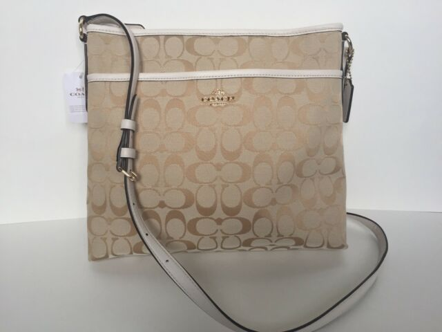 badbff2102a1 Coach Light Khaki chalk 12 Cm Signature File Crossbody Bag 36378 for ...