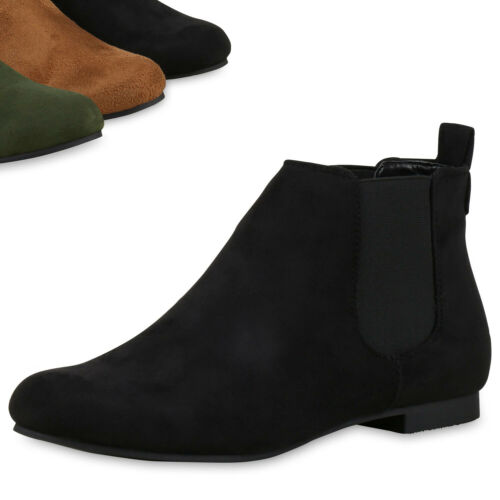 Damen Chelsea Boots Leder-Optik Stiefeletten Modisch 812513 Top