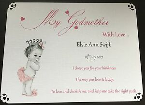 Godparent Thank You Cards Godmother Godfather Personalised