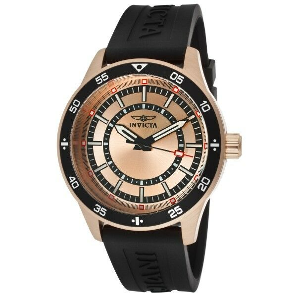 Invicta Specialty Men's Rose Goldplated Case with Black Rubber Strap Watch 14336