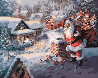 Painting By Number Kit Diy Paint Christmas Canvas Oil Santa Gifts Ebay