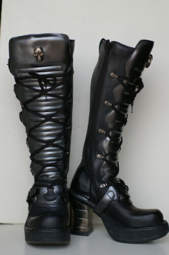 NEW ROCK NR M.8272 S1 Black Boots-Womens metallic