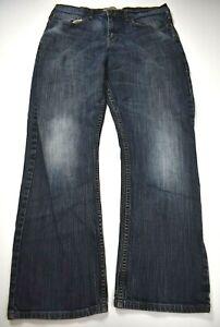 Wrangler Mens Blue Relaxed Straight Comfortable 5-Pocket Cotton Denim Jeans