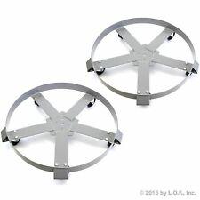 2 55 Gal Drum Dolly Swivel Casters Heavy Duty Steel Non Tip 1250 Lbs 5 Wheels