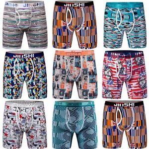 3er-Pack-JINSHI-Herren-Boxershorts-Lang-Unterhose-Bambusfaser-Bunt-Retroshorts