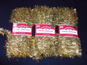 New-Lot-Of-3-Holiday-Time-Gold-Christmas-Tree-Tinsel-Garland-Ornament-45-Ft