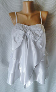 KAREN-MILLEN-UK-10-US-6-Silver-Metallic-Silk-Blouse-Top-Sleeveless-Straps