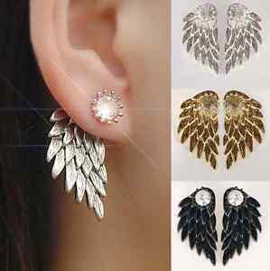 Image Is Loading Stud Angel Wings Rhinestone Gothic Earrings Gifts Cool