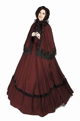 Civil War Reenactment Dickens Faire Victorian 3 piece Burgundy Cape Sash Dress